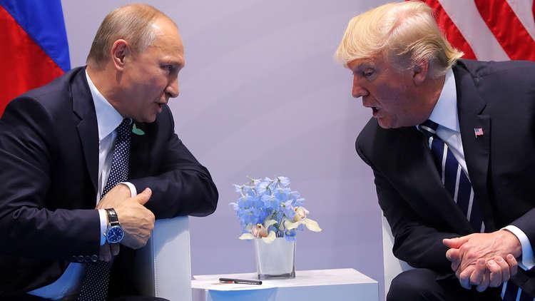 الرئيسان الروسي فلاديمير بوتين والأمريكي دونالد ترامب أثناء لقائهما في هامبورغ