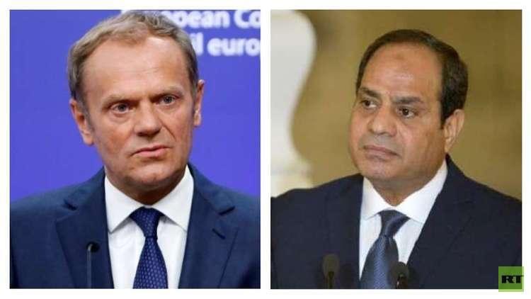 الرئيس المصري عبدالفتاح السيسي ورئيس المجلس الأوروبي دونالد توسك