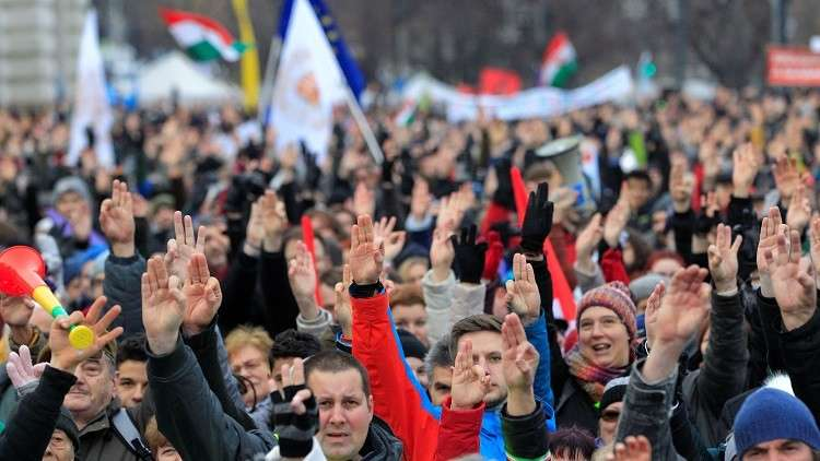 الاحتجاجات في بودابست ضد حكومة رئيس الوزراء أوربان