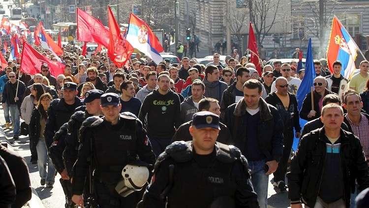 صورة ارشيفية لاحتجاجات في بلغراد