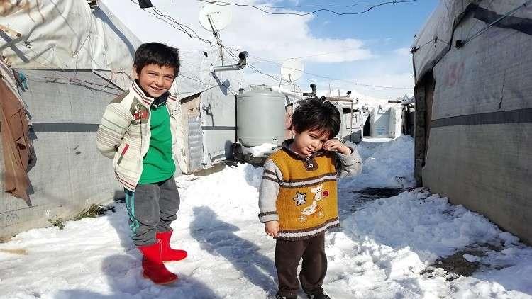 أطفال سوريون في أحد مخيمات اللجوء - أرشيف