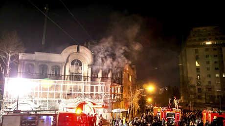 السفارة السعودية في طهران بعد اقتحامها وإحراقها من قبل المتظاهرين الإيرانيين يوم 2 يناير 2016