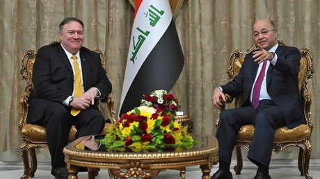 وزير الخارجية الأمريكي مايك بومبيو يلتقي الرئيس العراقي برهم صالح في بغداد