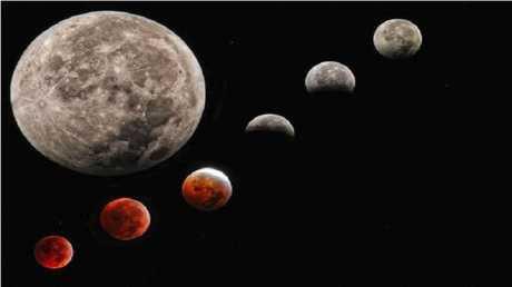 المراحل المختلفة للقمر خلال الخسوف الكلي