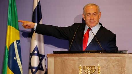 أرشيف - رئيس الوزراء الإسرائيلي بنيامين نتنياهو في مؤتمر صحفي في ريو دي جانيرو