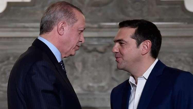 رئيس الوزراء اليوناني أليكسيس تسيبراس والرئيس التركي رجب طيب أردوغان خلال لقائهما في أثينا في ديسمبر 2017