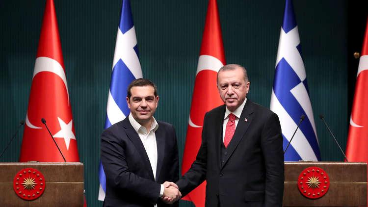 الرئيس رجب طيب أردوغان خلال مؤتمر صحفي مشترك، مع رئيس الوزراء اليوناني أليكسيس تسيبراس