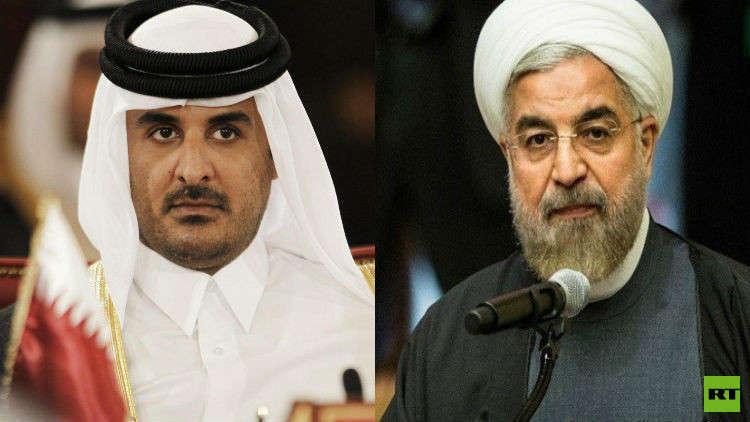 أمير قطر الشيخ تميم بن حمد آل ثاني والرئيس الإيراني حسن روحاني