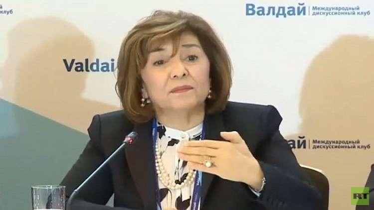 بثينة شعبان: واشنطن تدعم الإرهاب في سوريا ودعم موسكو جنبنا السيناريو الليبي