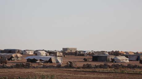 مخيم للنازحين في محافظة إدلب السورية