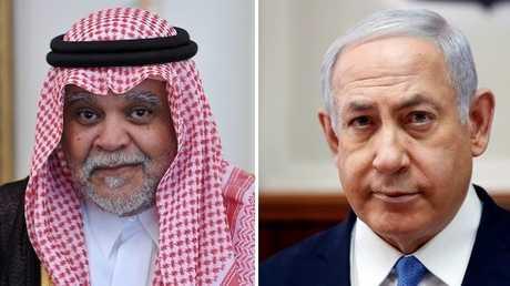 رئيس الوزراء الإسرائيلي، بنيامين نتنياهو، والأمير السعودي، بندر بن سلطان