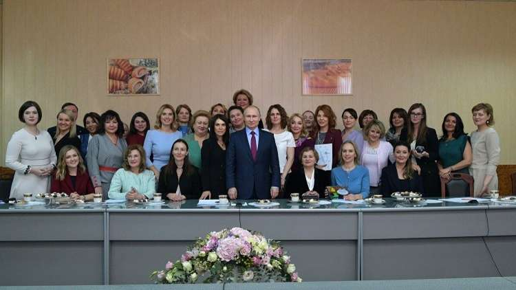 بوتين خلال اجتماع مع رائدات أعمال من المناطق الروسية، مدينة سمارا، روسيا، 7 مارس 2018