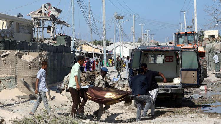 موقع الهجوم على مبنى يضم وزارتي العمل والأشغال العامة في مقديشو