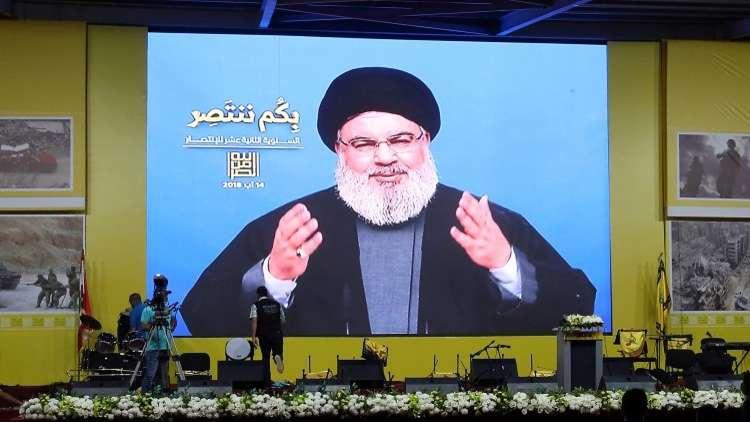 حسن نصر الله عبر شاشة في بيروت، لبنان 14 أغسطس 2018