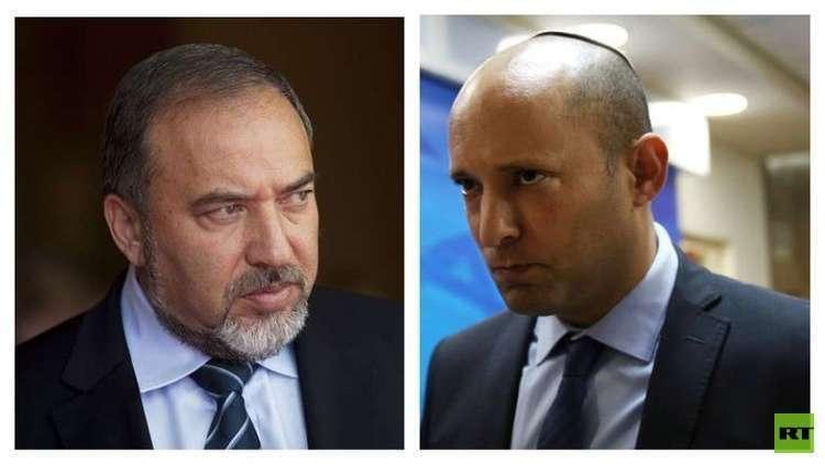 زعيم حزب اليمين الجديد اليميني الإسرائيلي نفتالي بنيت ووزير الحرب الأسبق أفيغدور ليبرمان