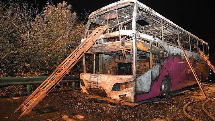 الشرطة الصينية تكشف سبب حريق مروع التهم حافلة بركابها