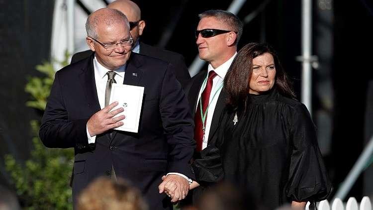 رئيس وزراء أستراليا سكوت موريسون وزوجته يشاركان في فعالية لتأبين ضحايا مجزرة المسجدين في نبيوزيلندا