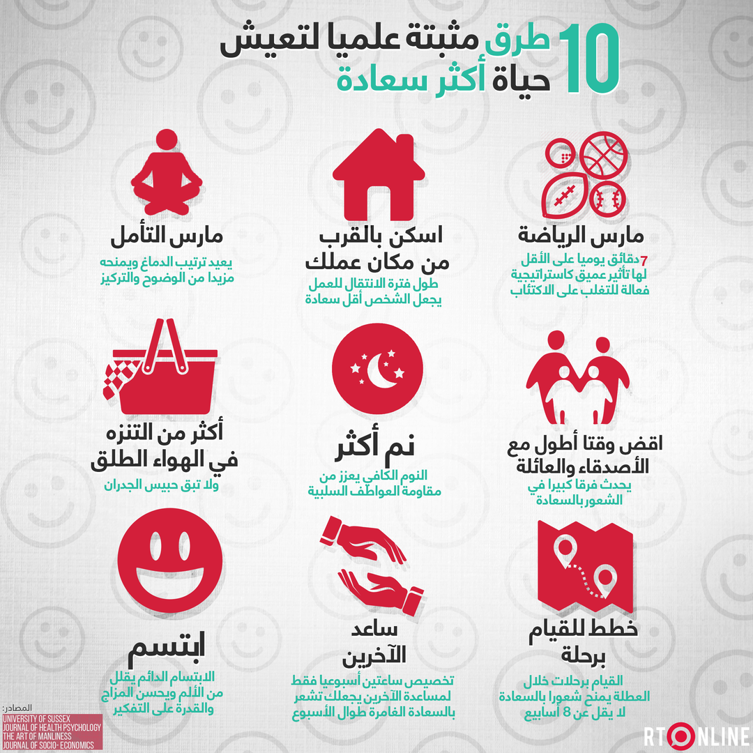 انفوغراف.. 10 طرق مثبتة علميا تجعلك أكثر سعادة
