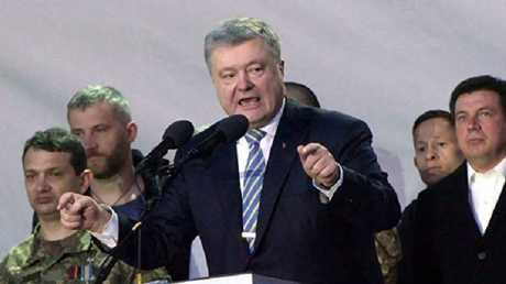 الرئيس الأوكراني خلال إلقاء كلمته