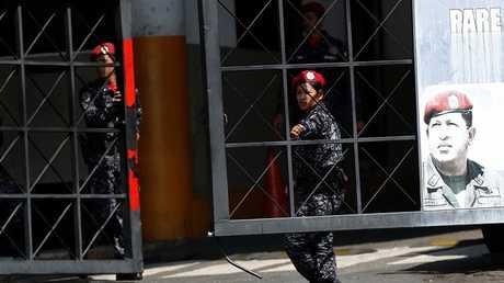 مدخل مركز اعتقال تابع لجهاز المخابرات الوطنية البوليفارية في كراكاس، فنزويلا في 21 مارس 2019