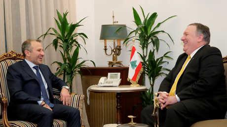 وزير الخارجية اللبناني، جبران باسيل، خلال لقاء عقده في بيروت مع نظيره الأمريكي، مايك بومبيو