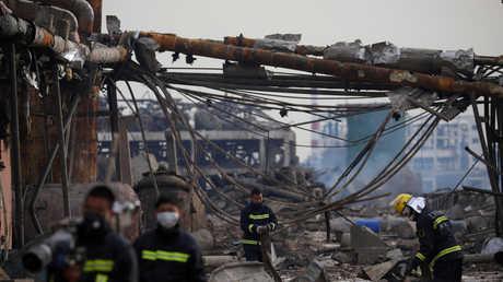 مكان الانفجار في مدينة يانتشنغ، الصين، 23 مارس 2019