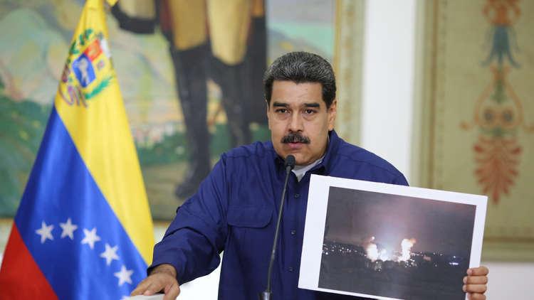 الرئيس الفنزويلي نيكولاس مادورو يلقي خطابا في كاراكاس في 11 مارس 2019
