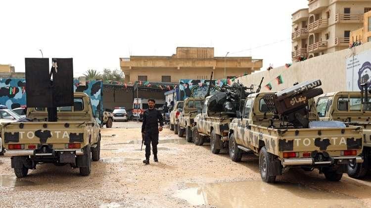 مركبات عسكرية مصادرة من قبل الجيش الوطني الليبي، في الزاوية غرب طرابلس، 5 أبريل 2019