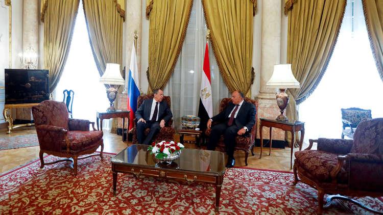 لقاء وزير الخارجية الروسي سيرغي لافروف ونظيره المصري سامح شكري في القاهرة، 6 أبريل 2019