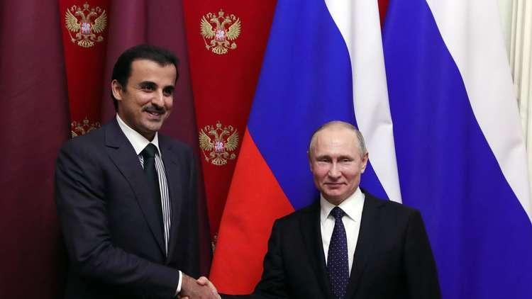 الرئيس الروسي فلاديمير بوتين  وأمير قطر الشيخ تميم بن حمد آل ثاني، موسكو، 26 مارس 2018