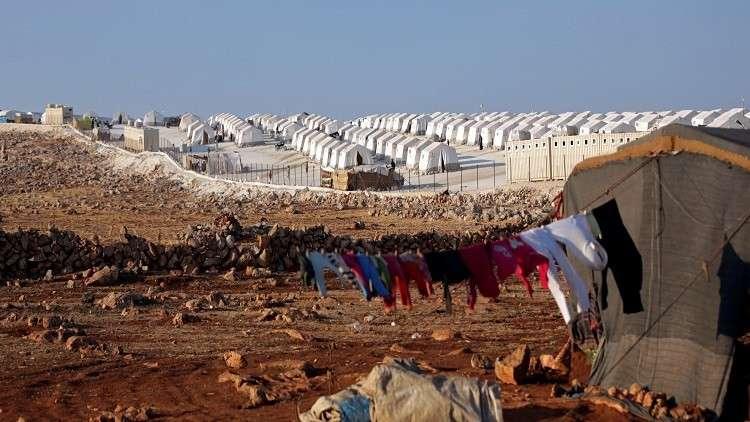 مخيم للاجئين بالقرب من محافظة إدلب شمال غرب سوريا