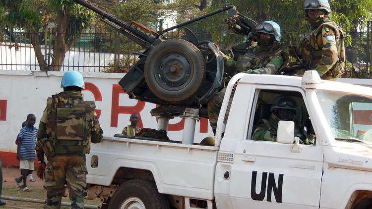 عناصر من قوات حفظ السلام الأممية في عاصمة جمهورية إفريقيا الوسطى، مدينة بانغي