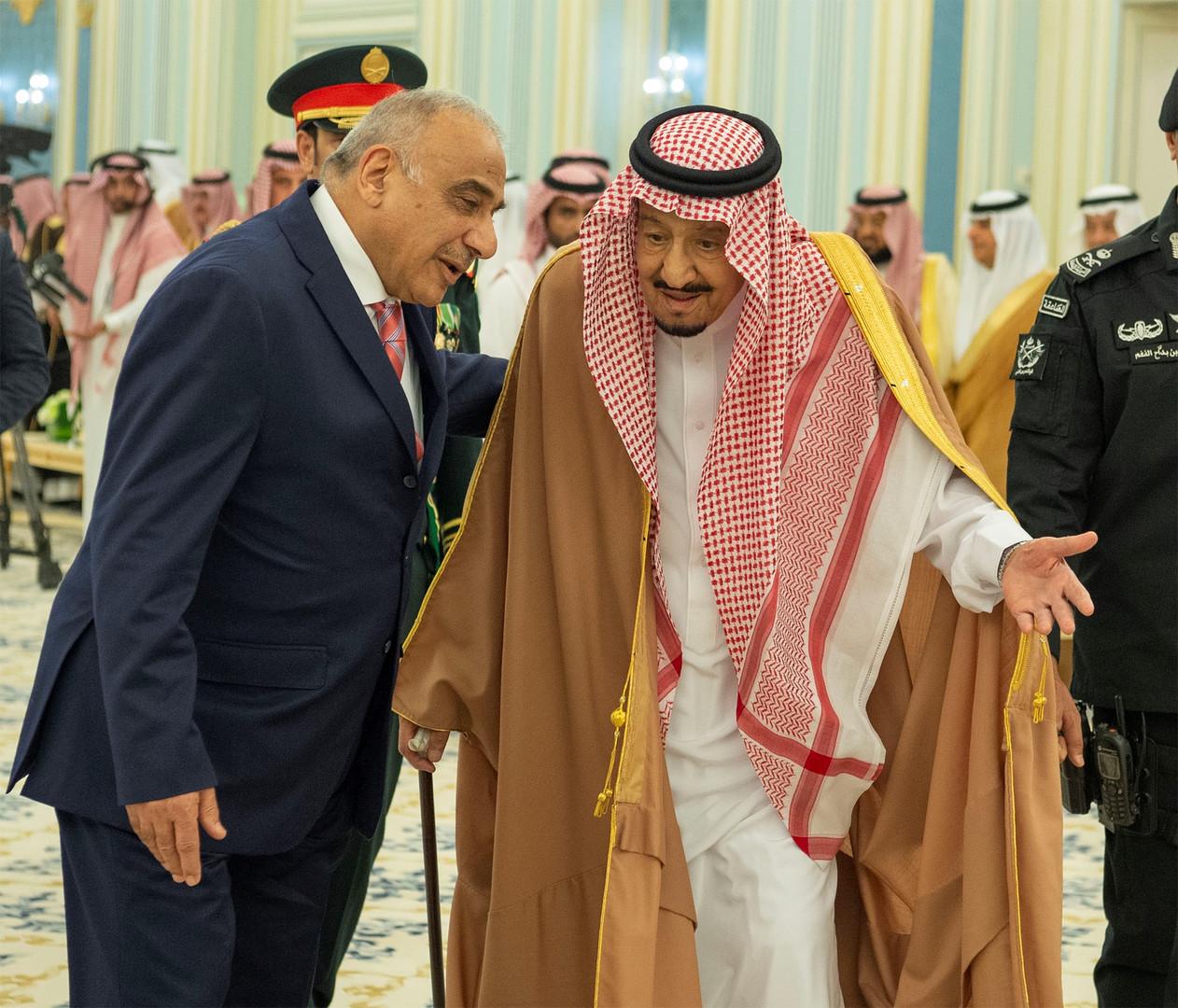 العاهل السعودي الملك سلمان بن عبد العزيز ورئيس الوزراء العراقي عادل عبد المهدي