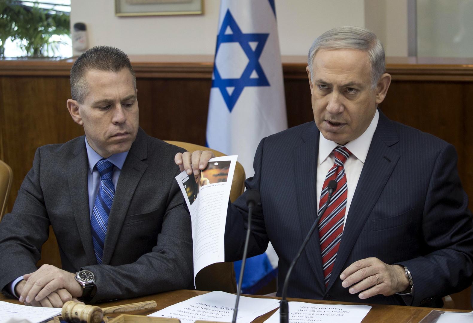 رئيس الوزراء الإسرائيلي بنيامين نتنياهو ووزير الأمن الداخلي جلعاد إردان