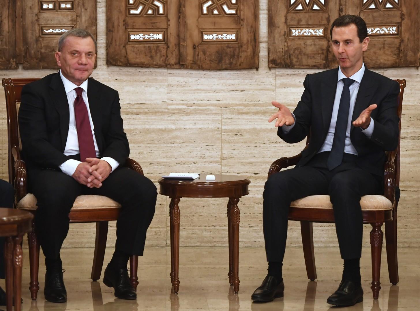لقاء نائب رئيس الوزراء الروسي، يوري بوريسوف، مع الرئيس السوري، بشار الأسد، في دمشق (أرشيف)