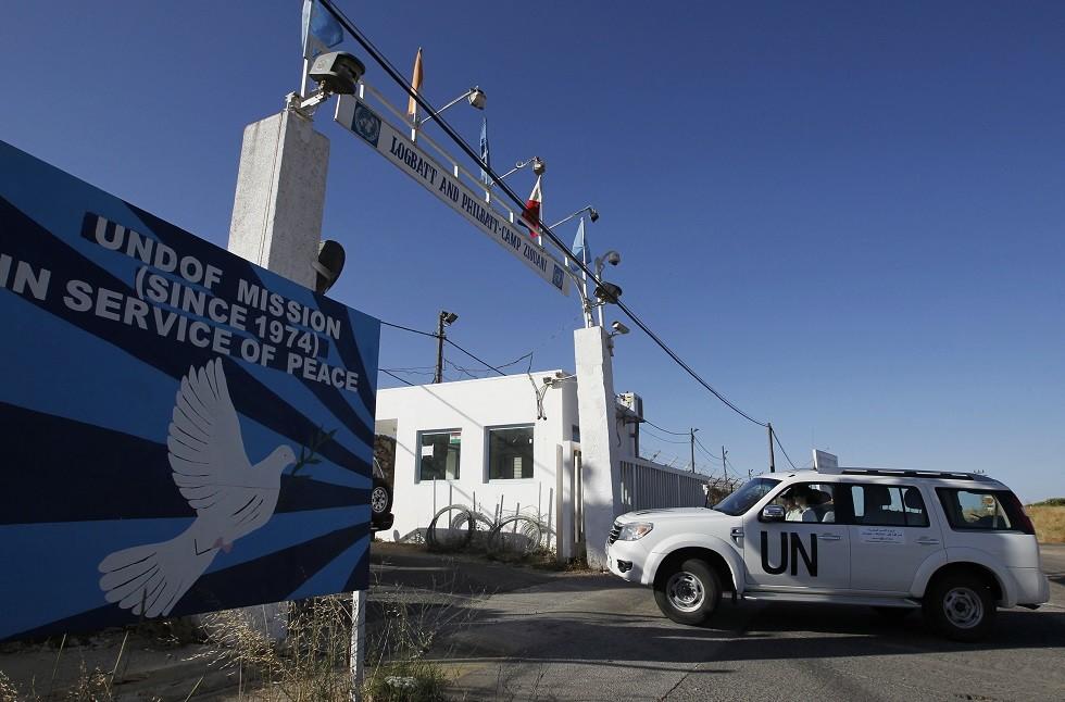 أرشيف - مقر تابع لقوات الأمم المتحدة بالقرب من معبر القنيطرة الحدودي بين إسرائيل وسوريا