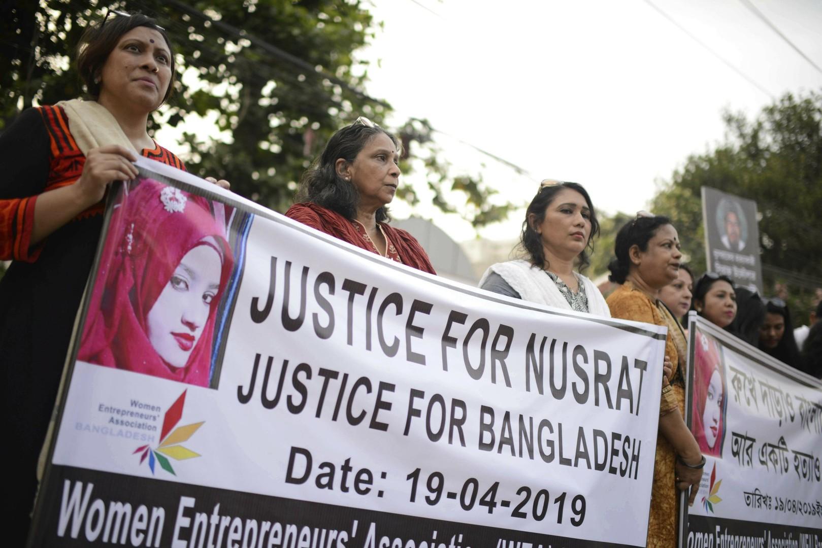 مظاهرات ضد مقتل فتاة بنغلاديشية بإضرام النار فيها