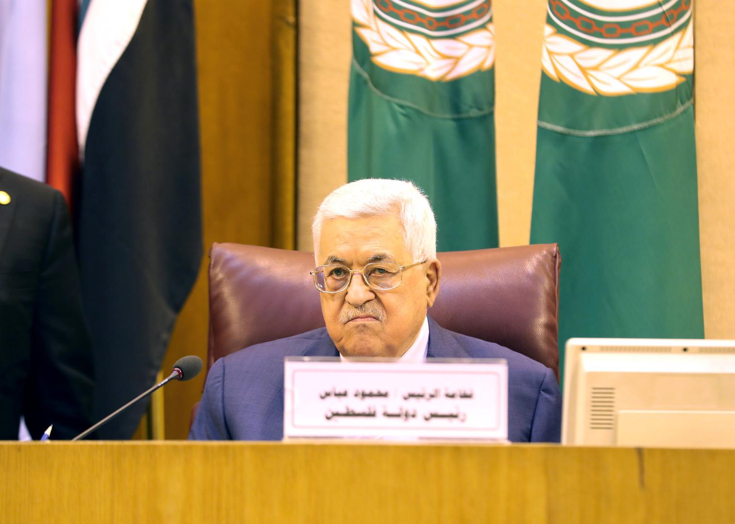 الرئيس الفلسطيني، محمود عباس، خلال اجتماع طارئ لجامعة الدول العربية لبحث القضية الفلسطينية يوم 21 أبريل