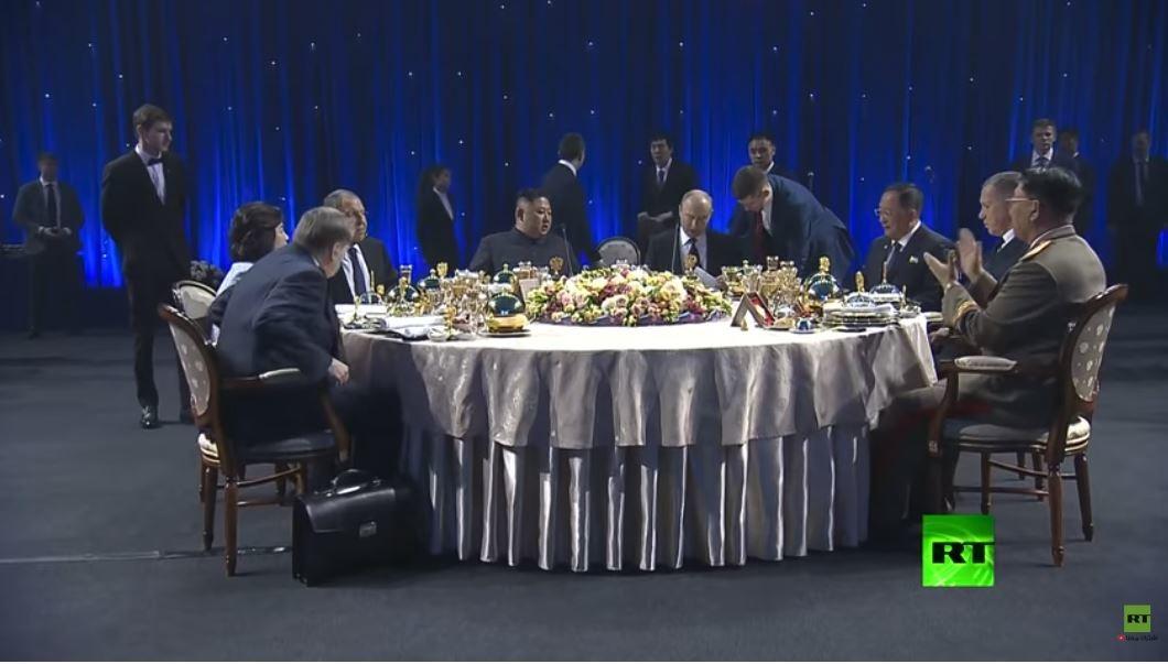 بالفيديو.. مأدبة غداء على شرف الزعيم الكوري كيم جونغ أون في روسيا