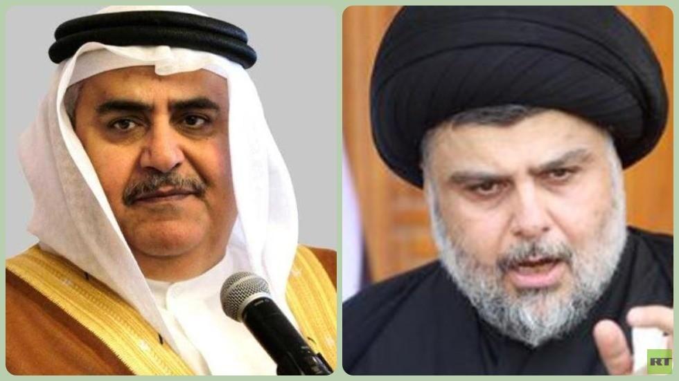 زعيم التيار الصدري العراقي مقتدى الصدر ووزير الخارجية البحريني خالد بن أحمد آل خليفة