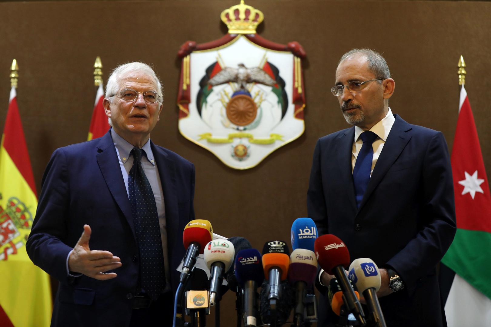 وزير الخارجية الإسباني، جوسيب بوريل، في مؤتمر صحفي مشترك مع نظيره الأردني، أيمن الصفدي (2 مايو 2019)
