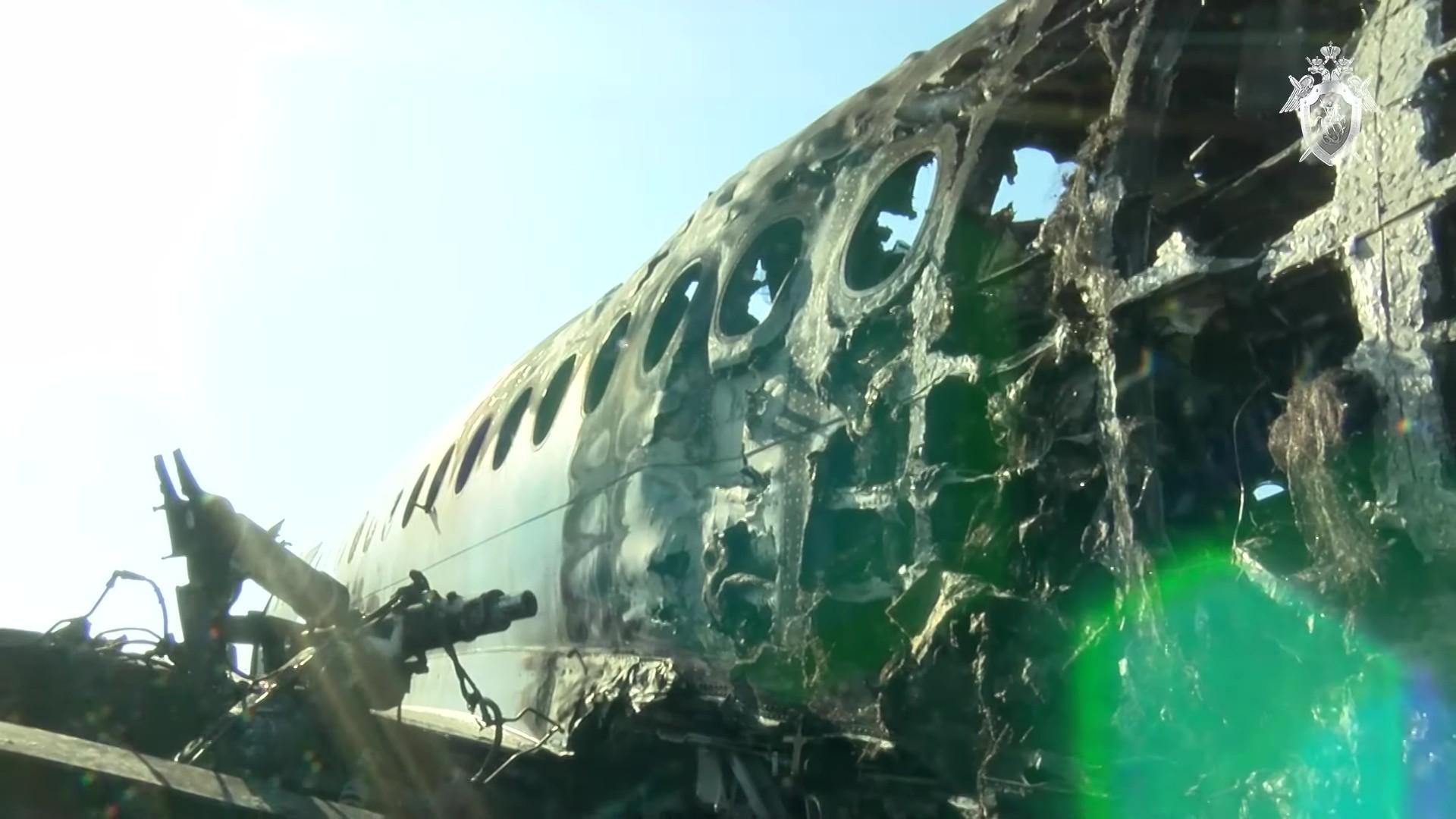 هيكل الطائرة المنكوبة في مطار شيريميتيفو بموسكو، 6 مايو 2019