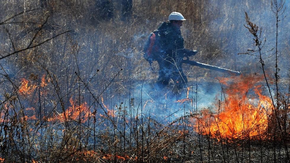 إخماد 3 حرائق غابات كبيرة في منطقة البايكال