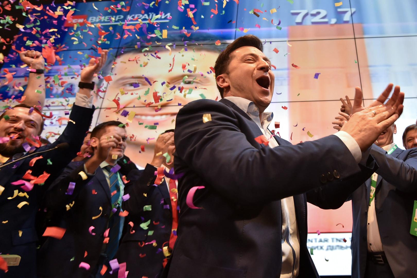 الرئيس الجديد المنتخب في أوكرانيا فلاديمير زيلينسكي