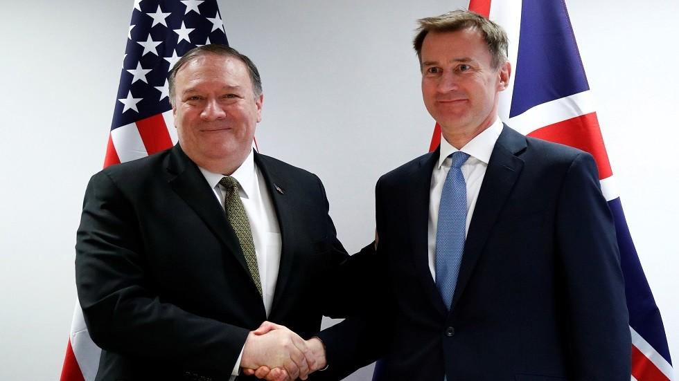 وزيرا الخارجية الأمريكي مايك بومبيو والبريطاني جيريمي هانت
