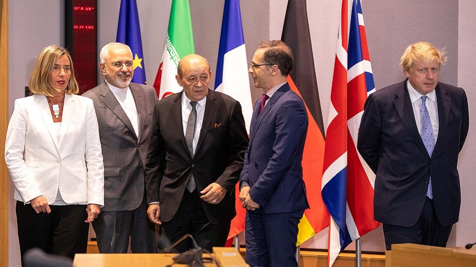 وزير الخارجية الإيراني محمد جواد ظريف ووزراء خارجية الأطراف الأوروبية الموقعة على الاتفاق النووي (مايو عام 2018)
