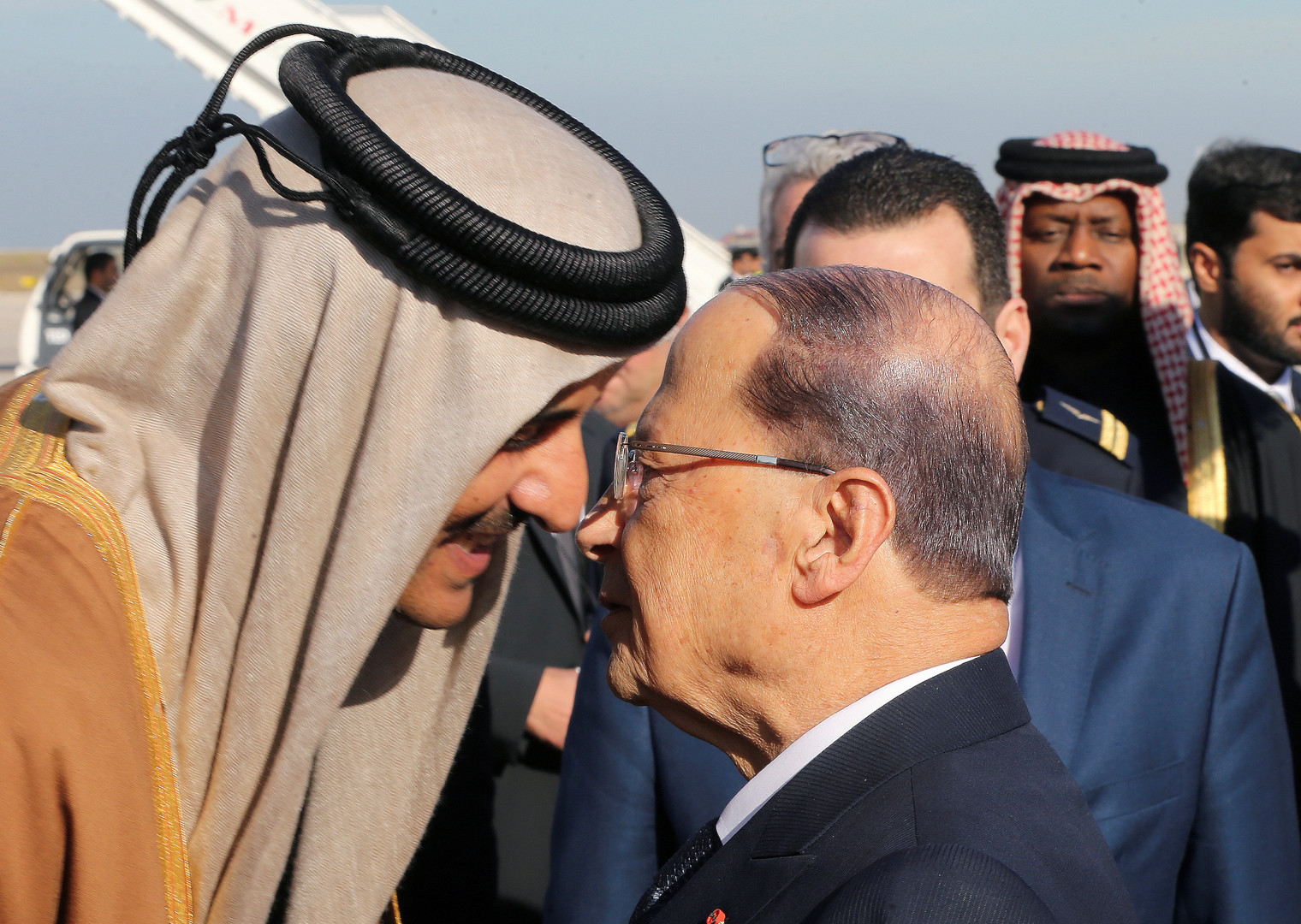 الرئيس اللبناني، ميشال عون، وأمير قطر، الشيخ تميم بن حمد آل ثاني (بيروت، 20 يناير)
