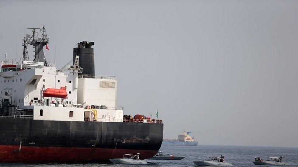 """ناقلة النفط السعودية """"المرزوقة"""" قبالة ميناء الفجيرة، 13 مايو 2019"""