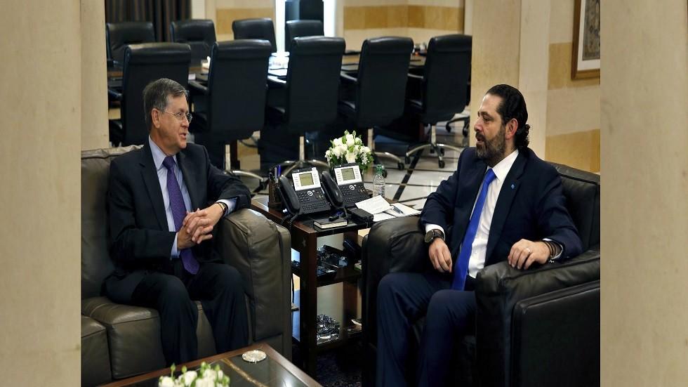 الموفد الأمريكي ساترفيلد مجتمعا مع رئيس الحكومة اللبنانية سعد الحريري