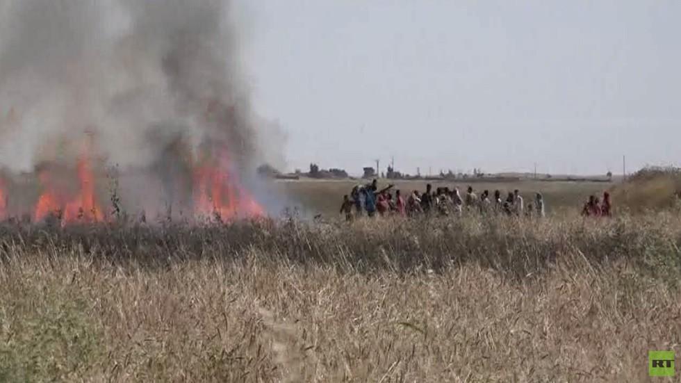 الحرائق تلتهم حقولا بشمال شرق سورية